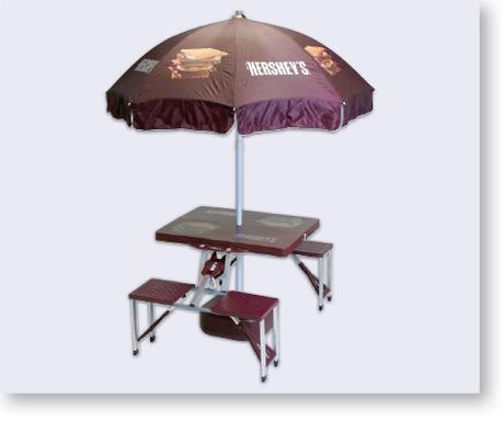 PopUp Hersheys Custom Folding Picnic Table With Umbrella - Custom picnic table umbrellas